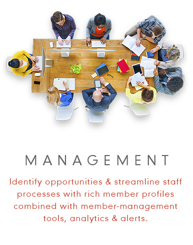 Management - Identify opportunities and streamline staff processes with rich member profiles combined with member-management tools, analytics and alerts